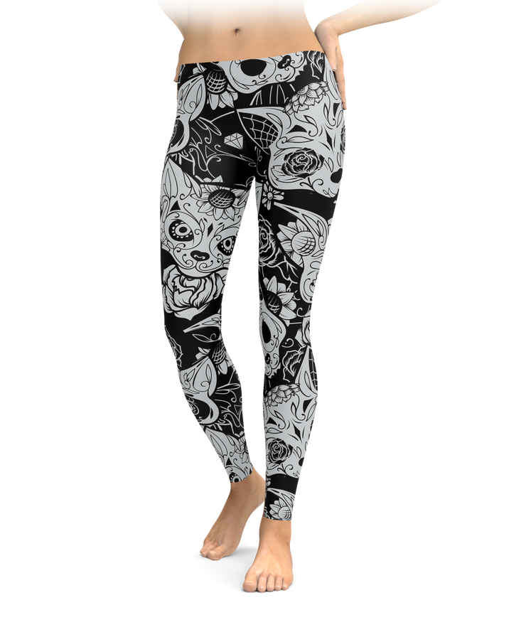 Day Of The Dead Cat Leggings