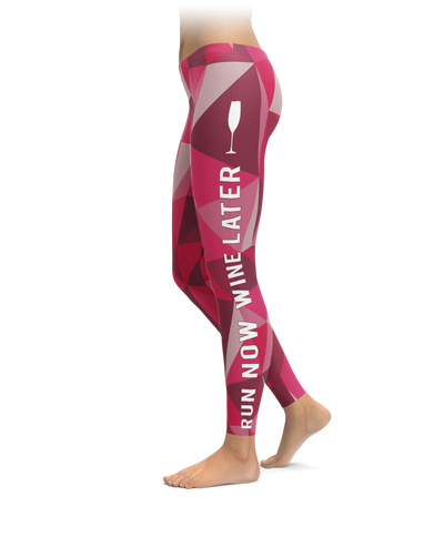 Run Now Wine Later Polygon Leggings
