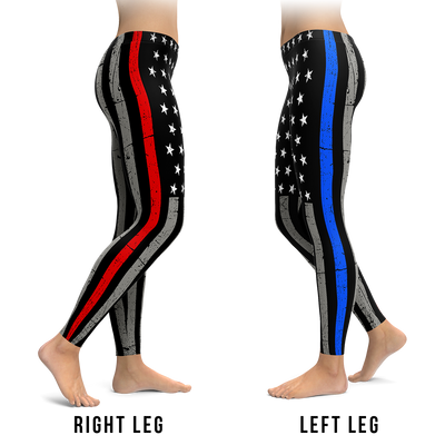 Thin Blue Line Left & The Red Line Right Leggings