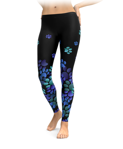 Blue Paw Print Leggings