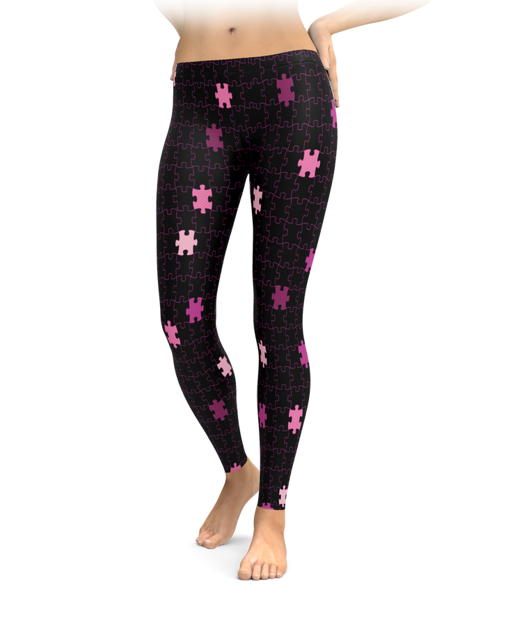 Black & Pink Puzzle Piece Leggings