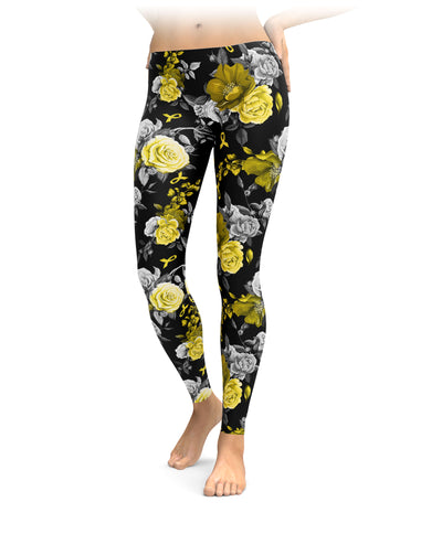 Roses And Childhood Cancer Ribbons Leggings