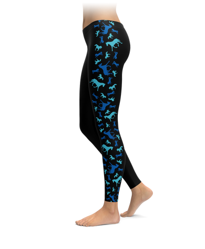 Black & Blue Horse Side Stripe Leggings