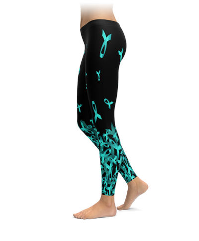 Ovarian Cancer Awareness Falling Ribbon Leggings