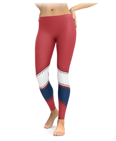 Boston Baseball Half Ball Stitch Leggings