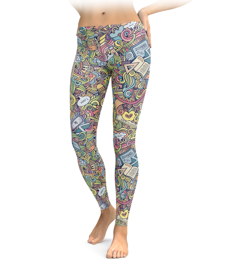 Crazy Cartoon Teacher Leggings