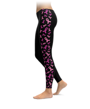 Black Breast Cancer Awareness Ribbon Side Stripe Leggings