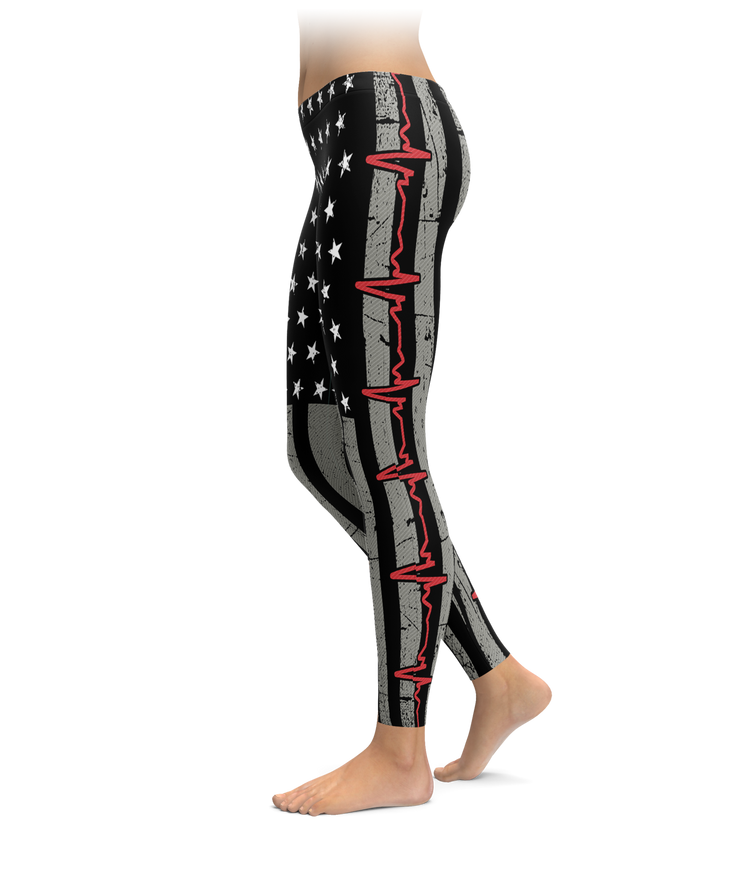 Red EKG Line Flag Leggings