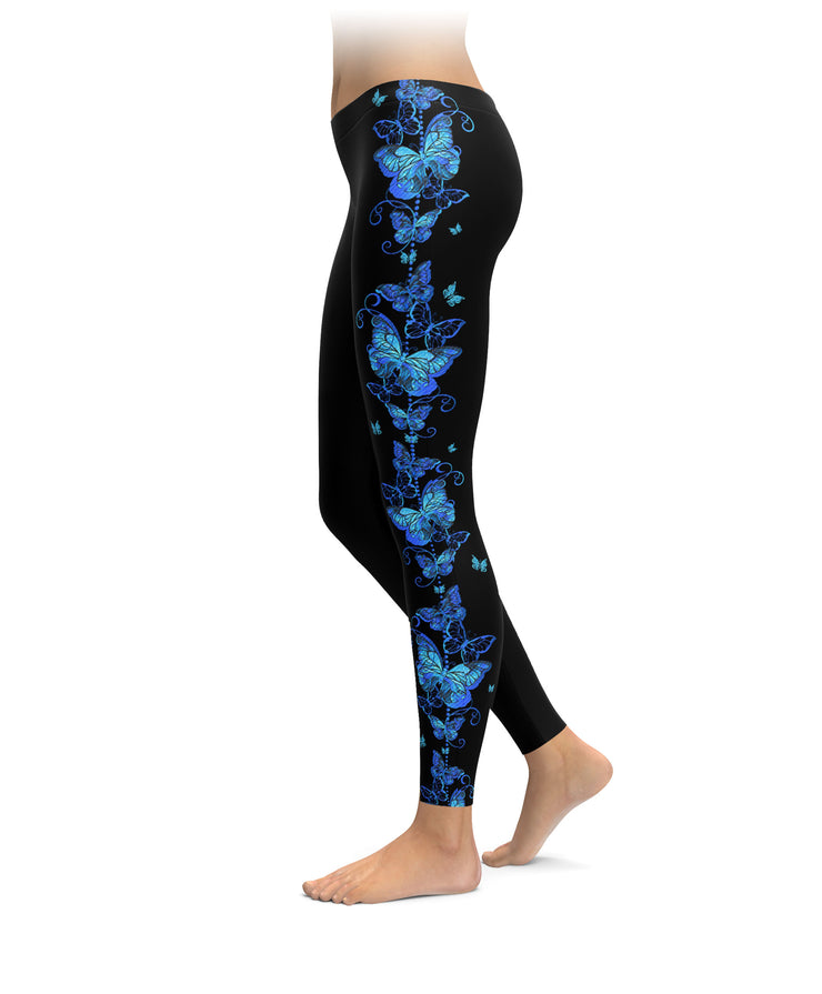 Swirls & Blue Butterflies Leggings