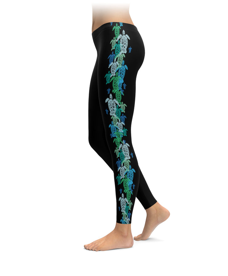 Overlapping Turtles Leggings
