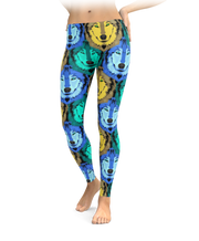 Blue, Green, & Yellow Wolf Leggings