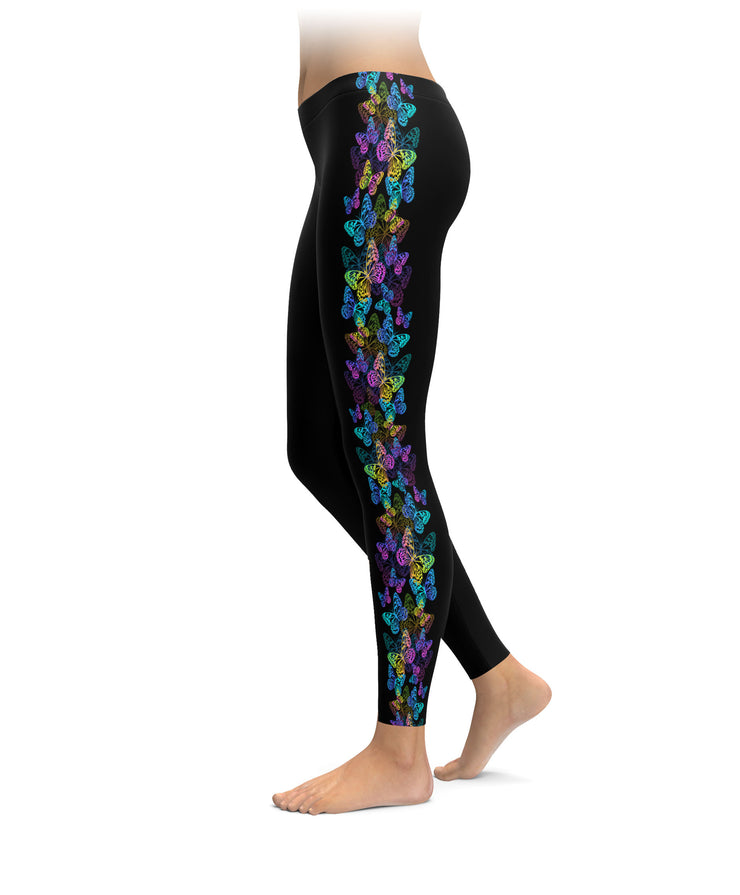 Bright Colored Butterfly Leggings