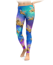 Interstellar Flying Unicorn Bulldog Leggings