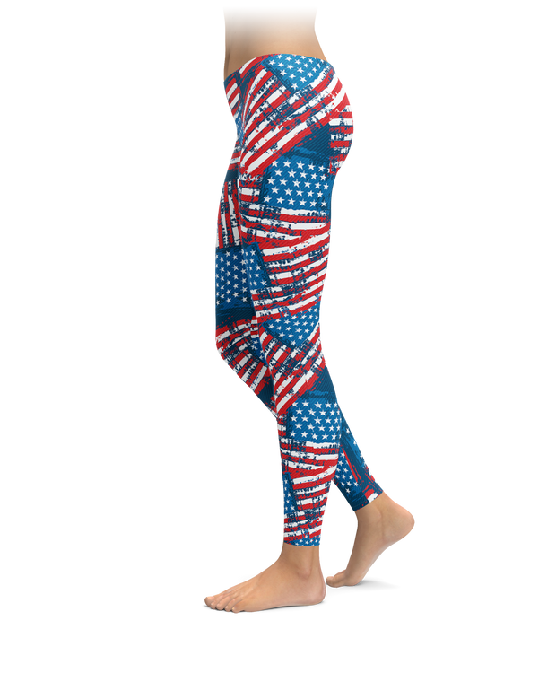 Distressed American Flag Leggings