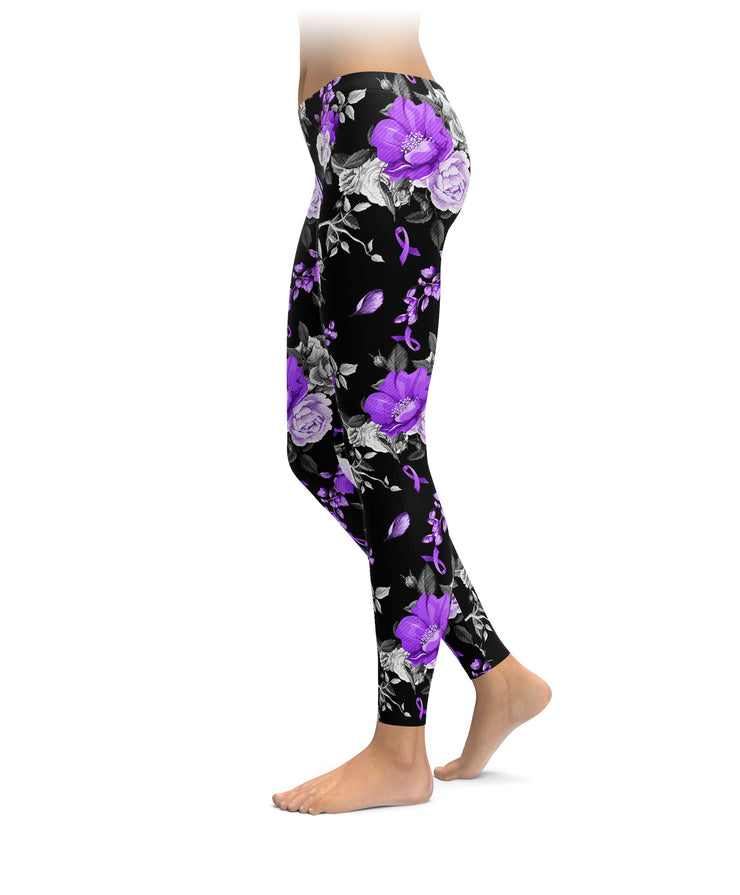 Roses And Alzheimer's Ribbons Leggings