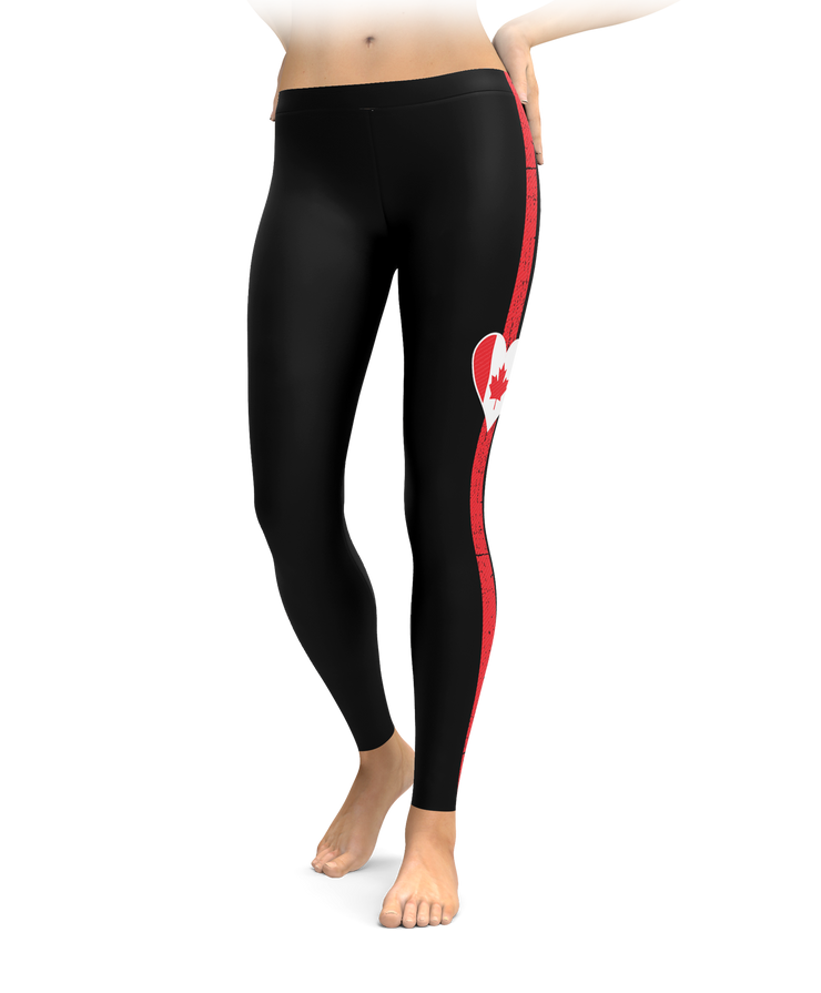 Canada Heart Stripe Leggings