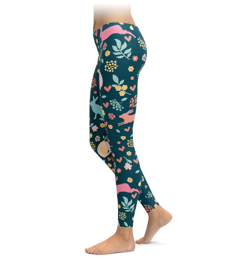 Rabbits, Hearts, and Flowers Leggings