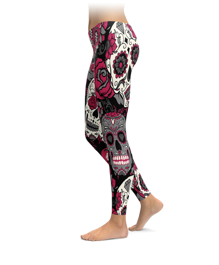 Black & Pink Sugar Skull Leggings