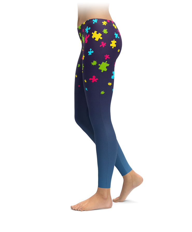 Falling Autism Puzzle Pieces Leggings