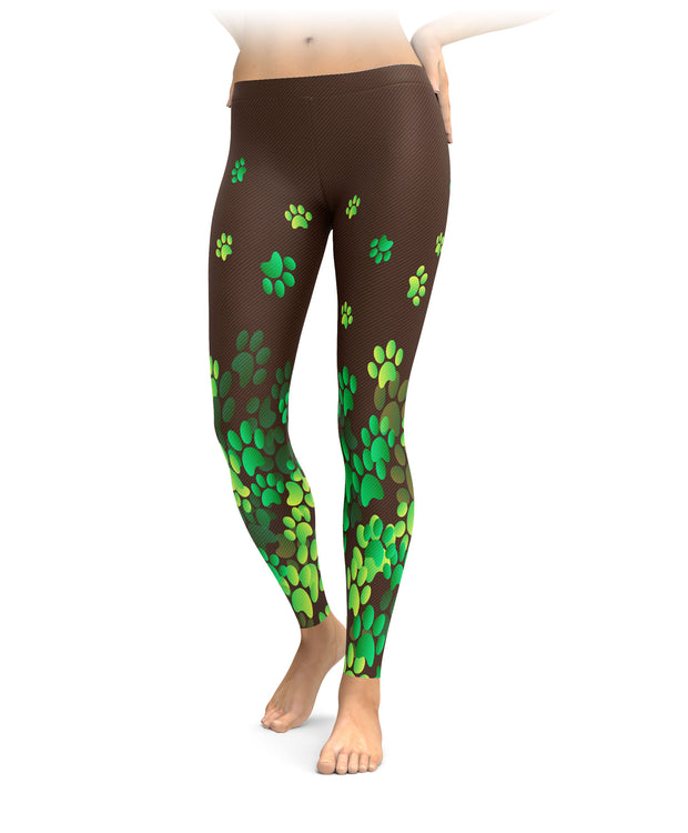 Brown and Green Paw Print Leggings