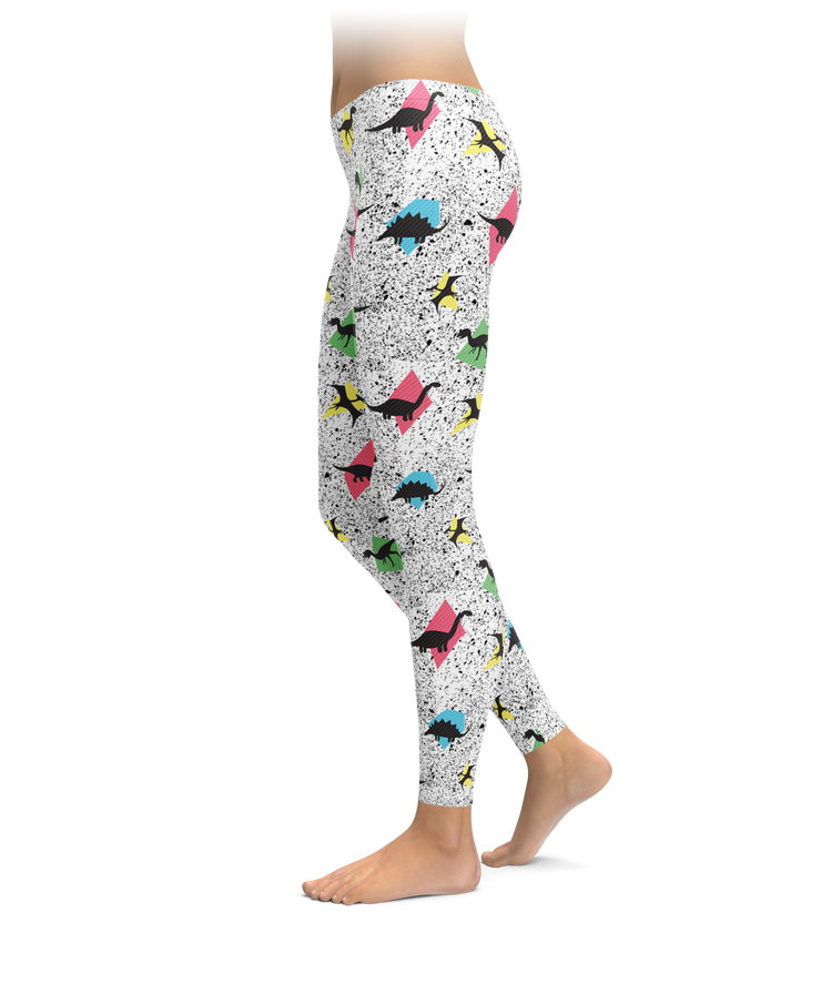 Retro Dino Pattern Leggings