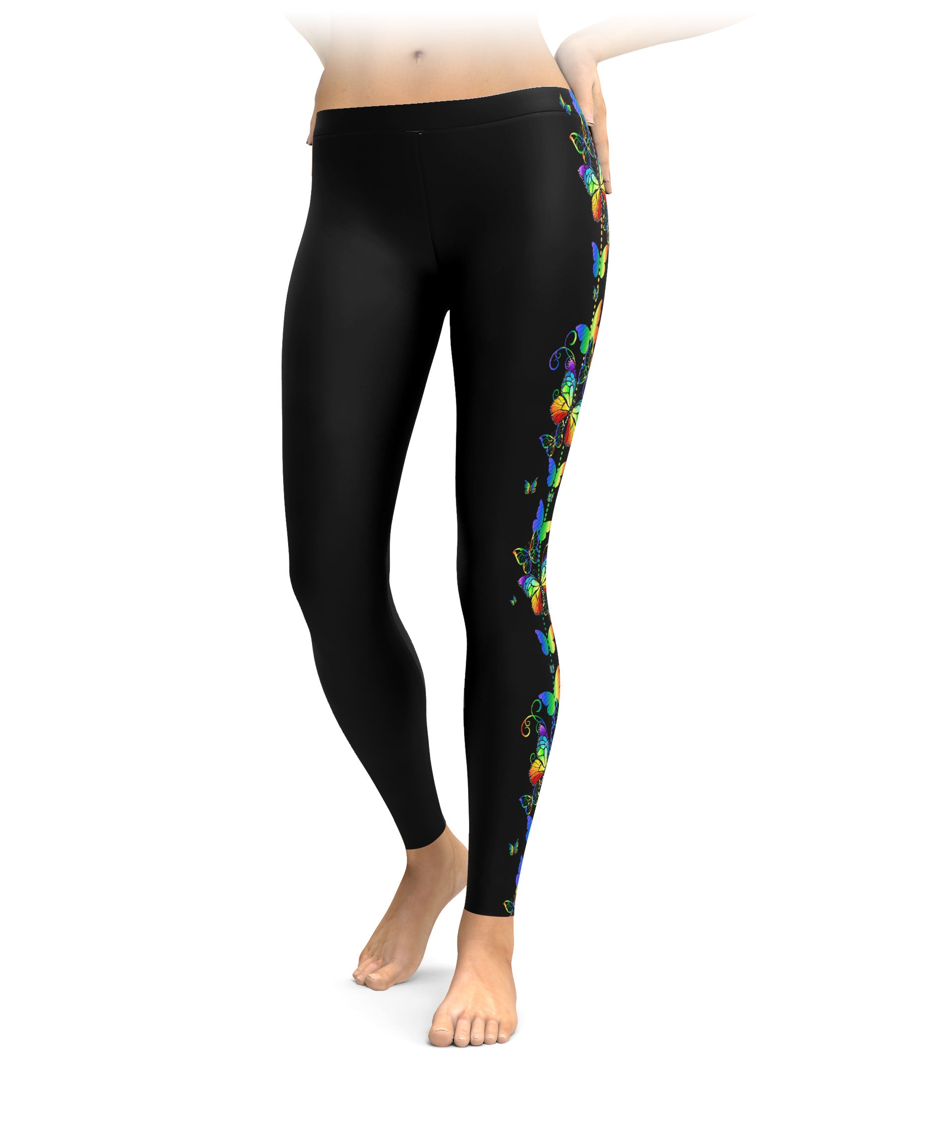 Swirls & Rainbow Butterflies Leggings