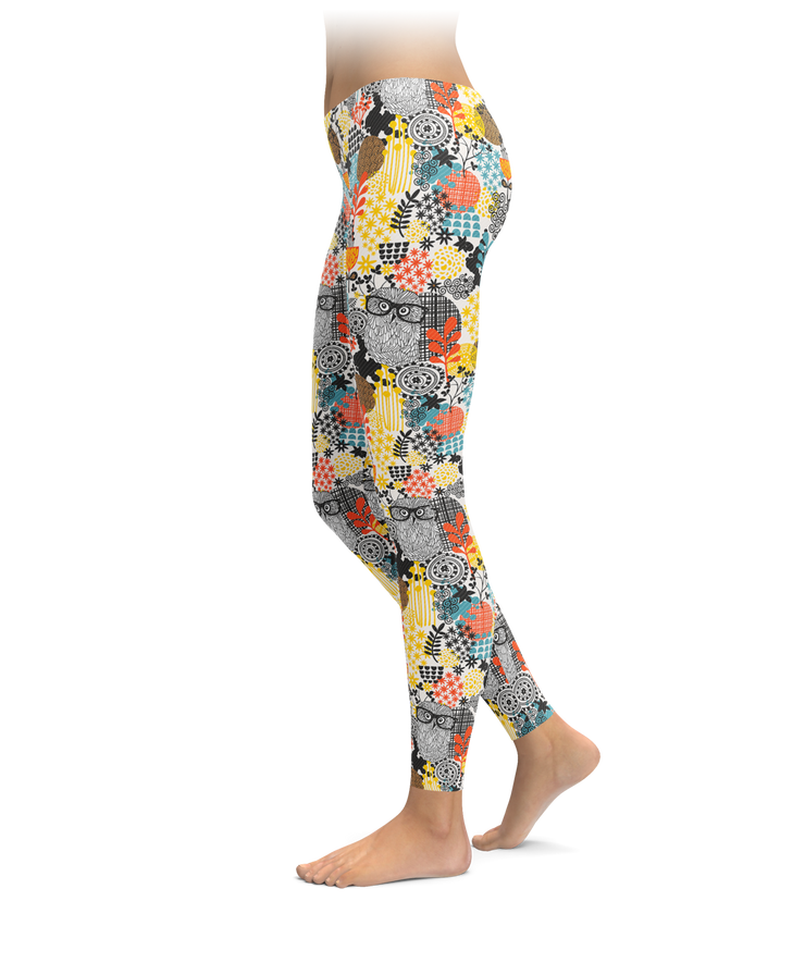 Floral Owl Leggings