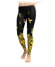 Childhood Cancer Awareness Falling Ribbon Leggings