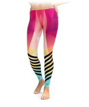 Cotton Candy Polygonal Racing Stripes Leggings