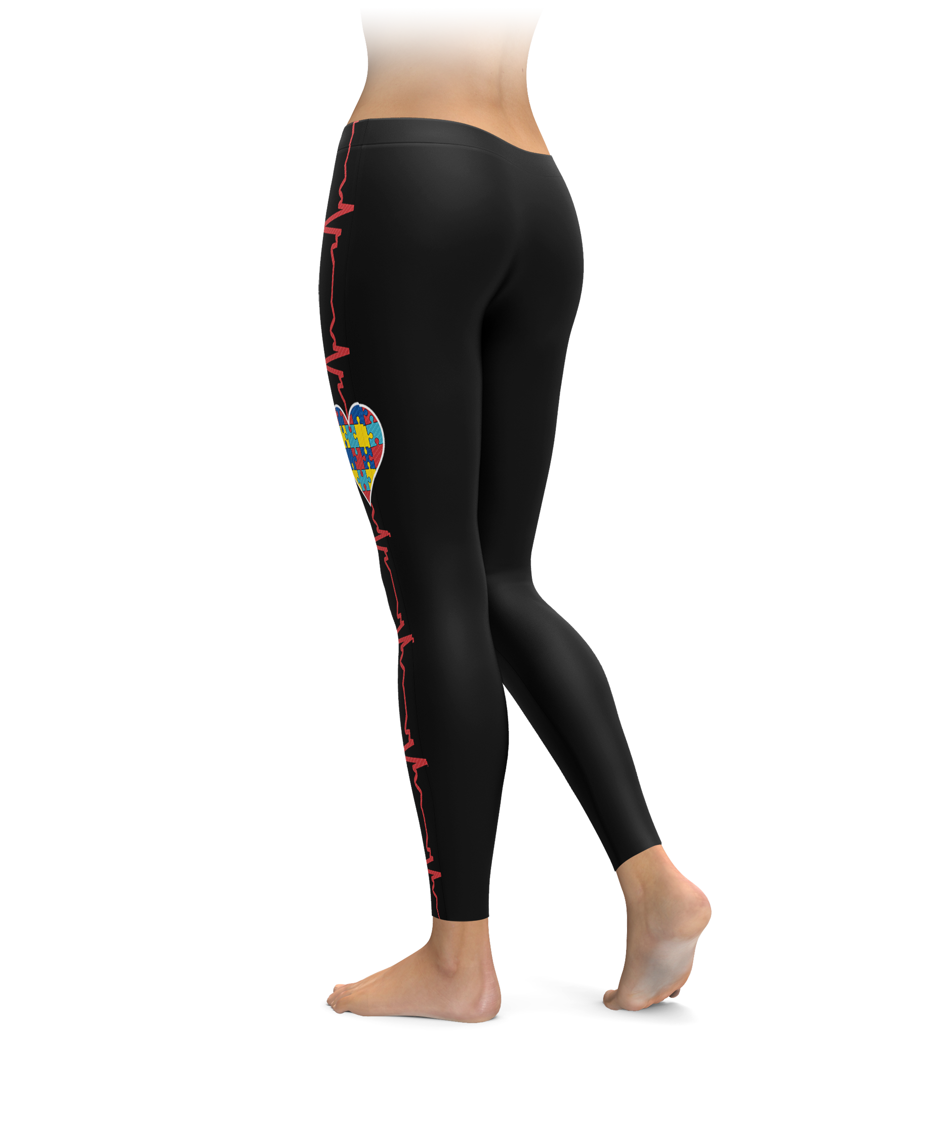 Autism Awareness Heartbeat Leggings