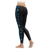 Blue Paw Print Side Stripe Leggings