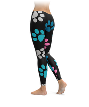 Big Paw Print Black Leggings