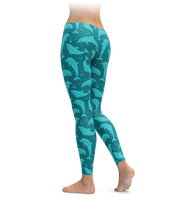 Aqua Cute Dolphin Leggings