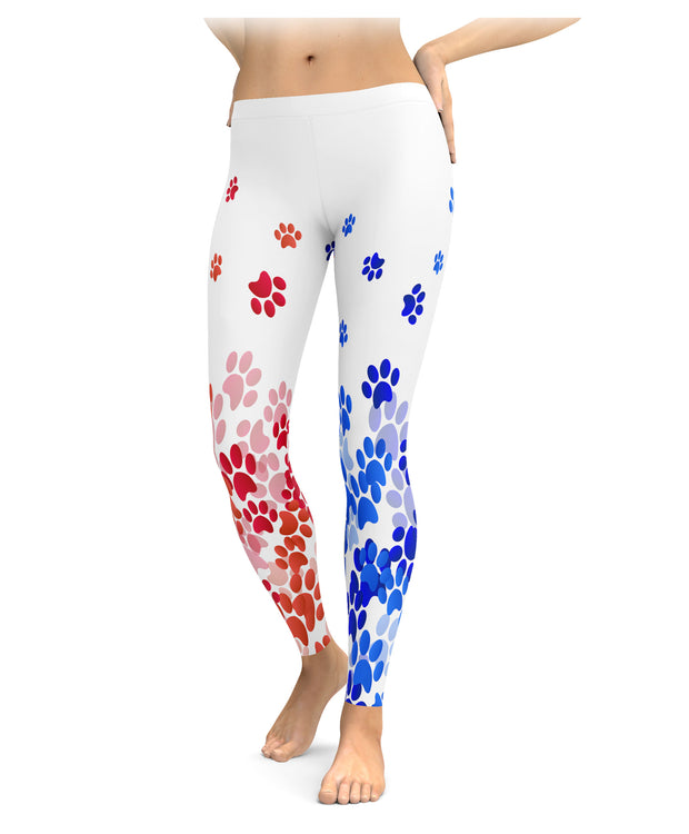 Red, White, and Blue Paw Print Leggings