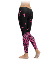 Breast Cancer Awareness Falling Ribbon Leggings