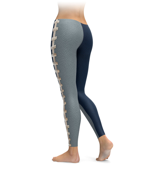 Dallas Navy and Silver Football Stitch Leggings
