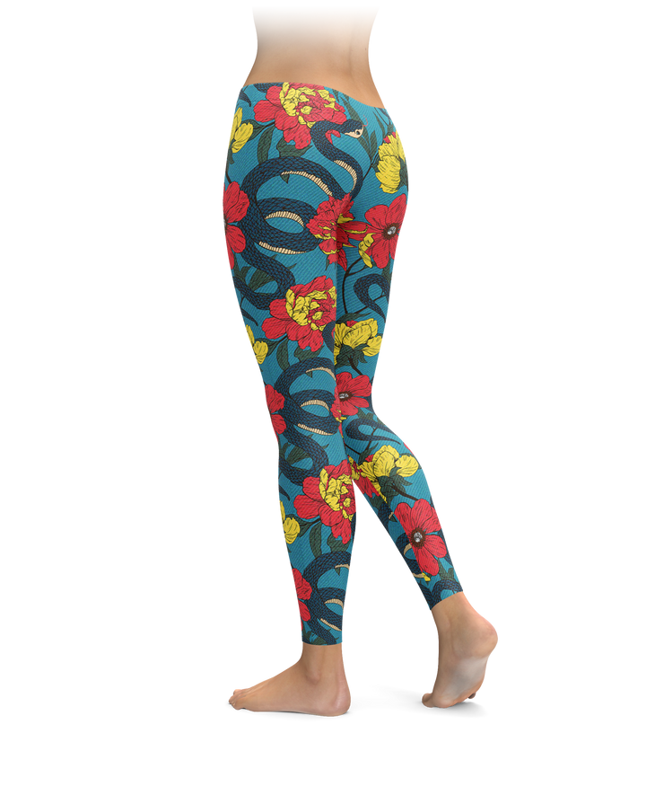 Floral Snake Pattern Leggings