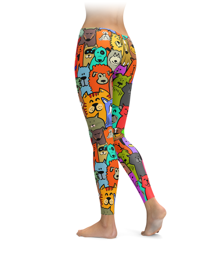 Colorful Cats & Dogs Leggings