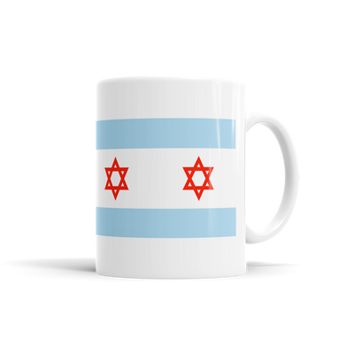 Jewish Chicago Flag Coffee Mugs