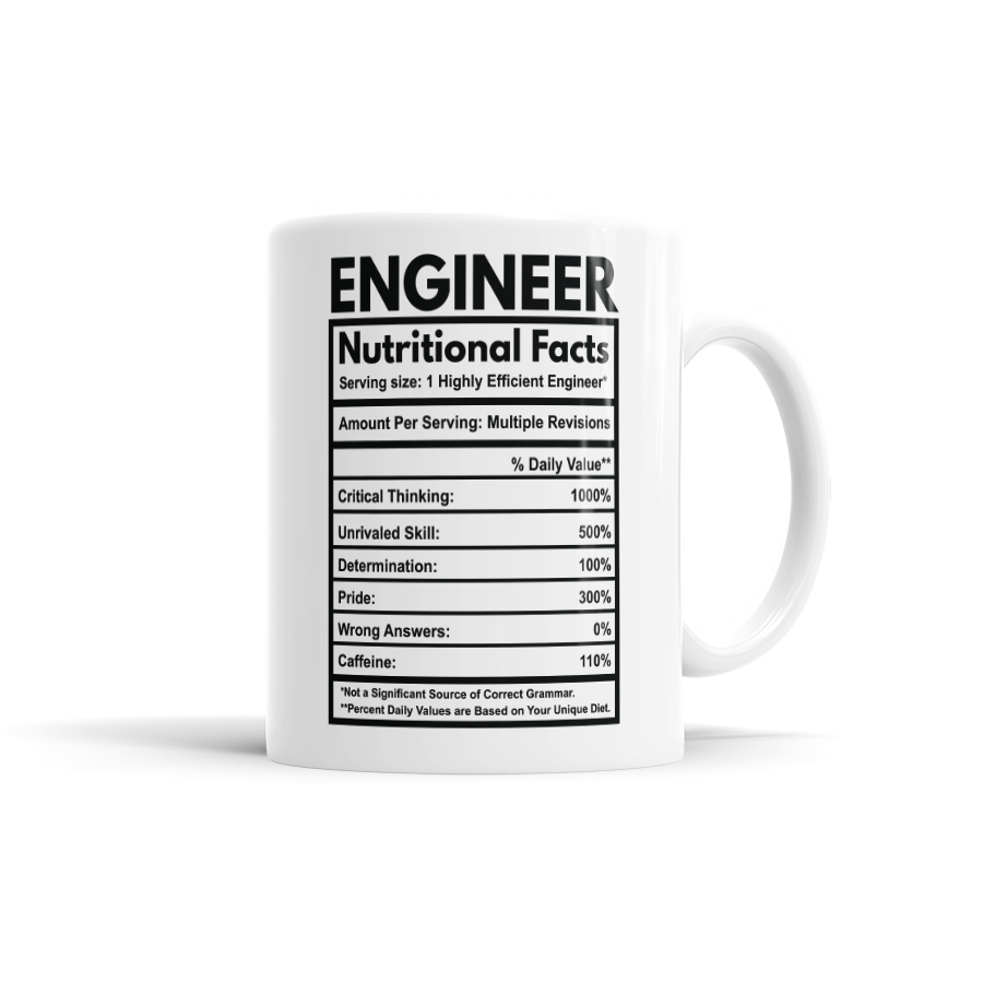 Engineer Nutritional Facts Coffee Mug