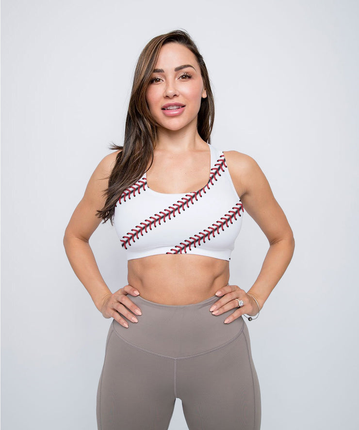 Baseball Stitches Sports Bra