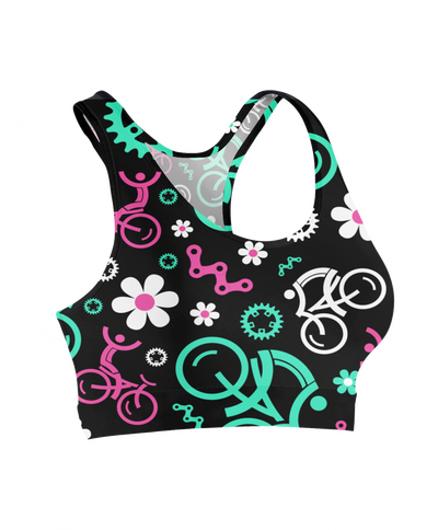 Floral Bicycles Sports Bra