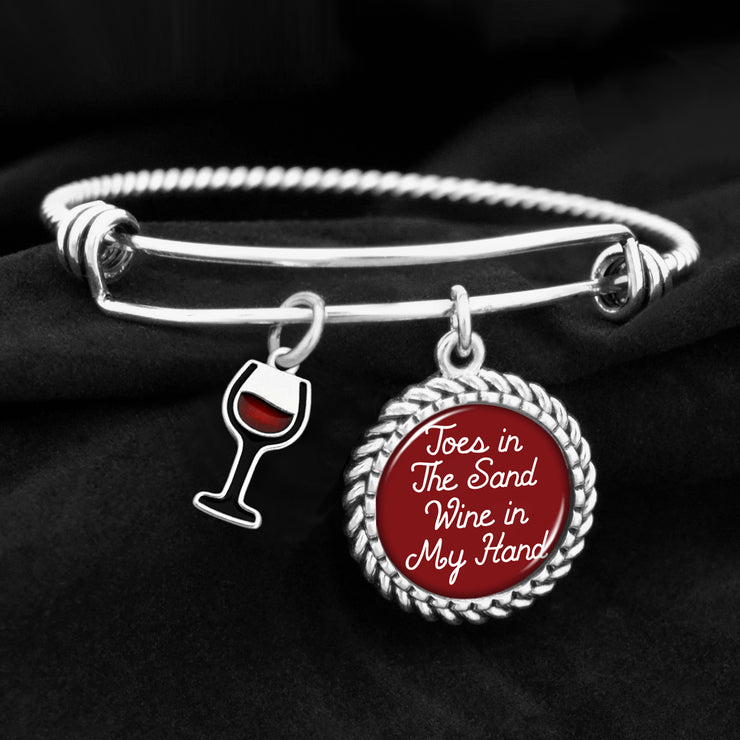 Toes In The Sand, Wine In My Hand Charm Bracelet