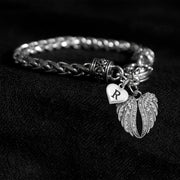 Angel Wings Custom Letter Silver Braided Clasp Charm Bracelet