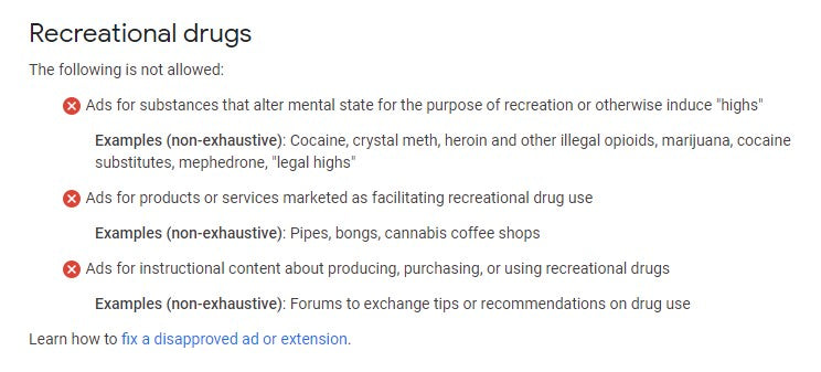 Google Recreational Drugs Ad Policy
