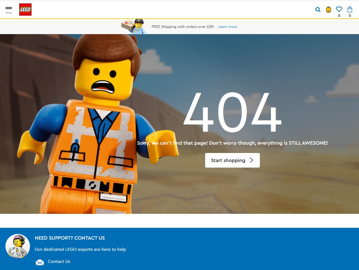 LEGO 404 Page Example