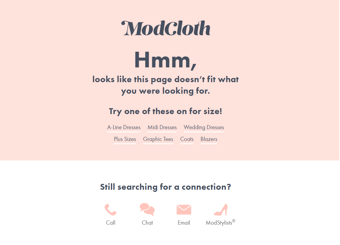 ModCloth 404 Page Example