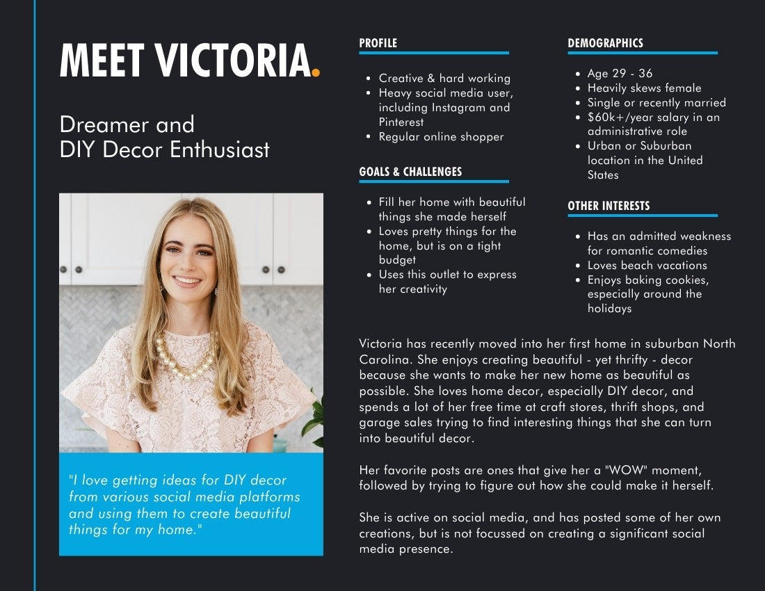 Personal Brand Customer Persona Example