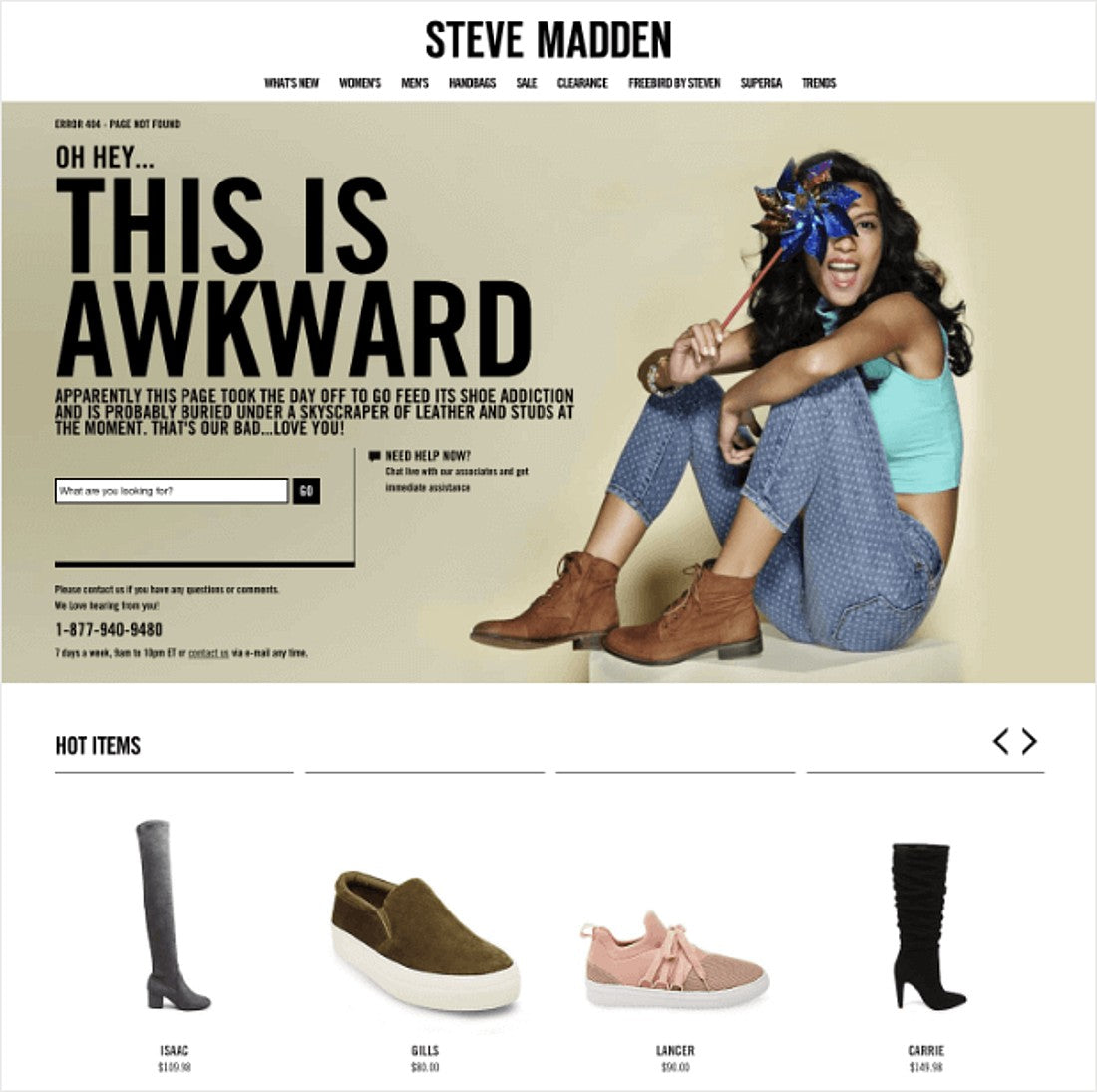 Steven Madden 404 Page Example