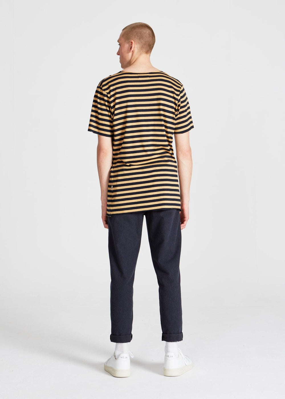 Givn BERLIN New Foundland T-Shirt Blue / Camel (Stripes)